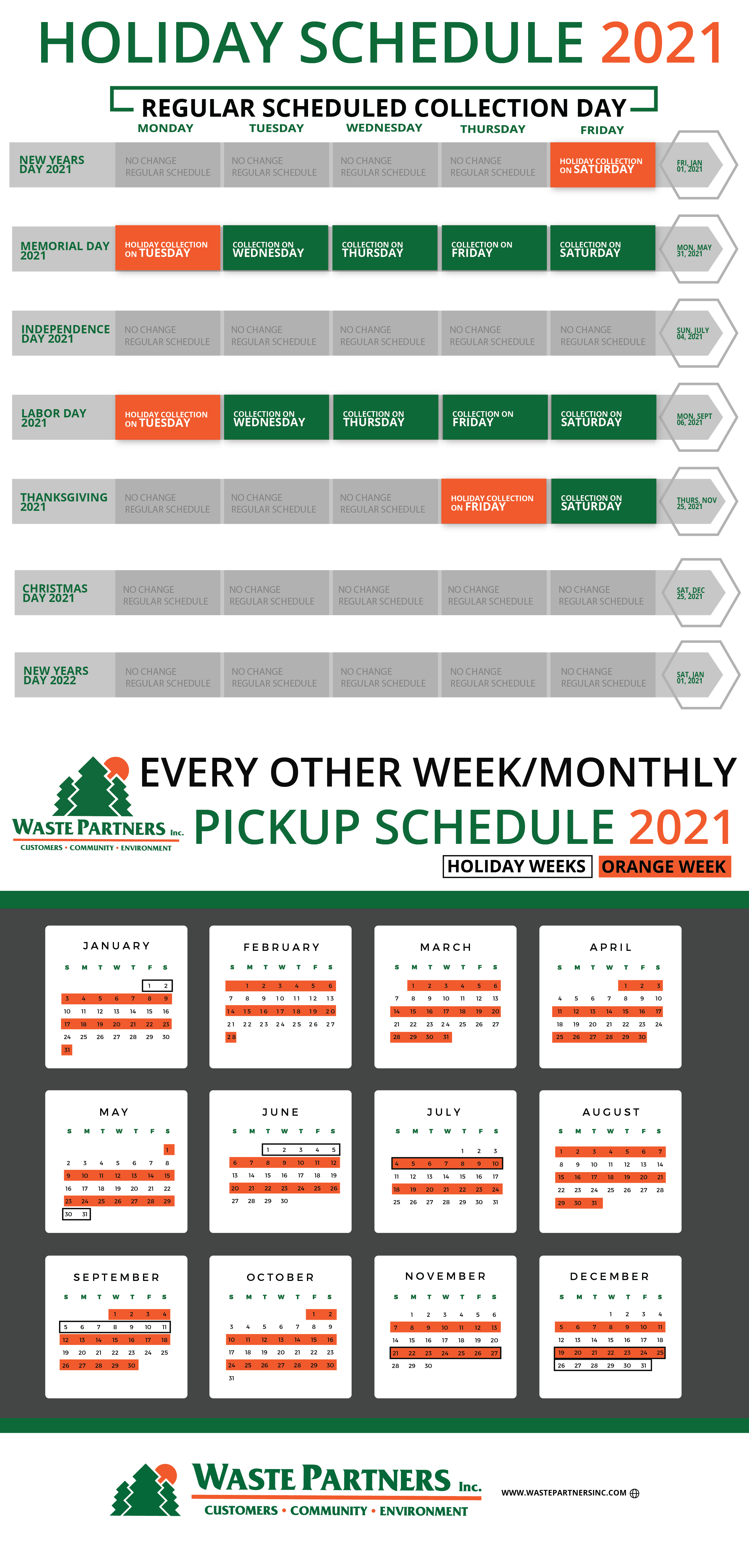 Online and Holiday Pick up Schedule